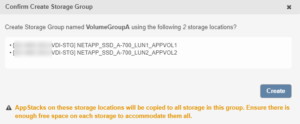 Confirm the New Storage Group