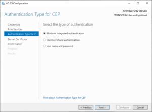 Select the authentication type