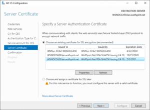 Select the IIS binding certificate
